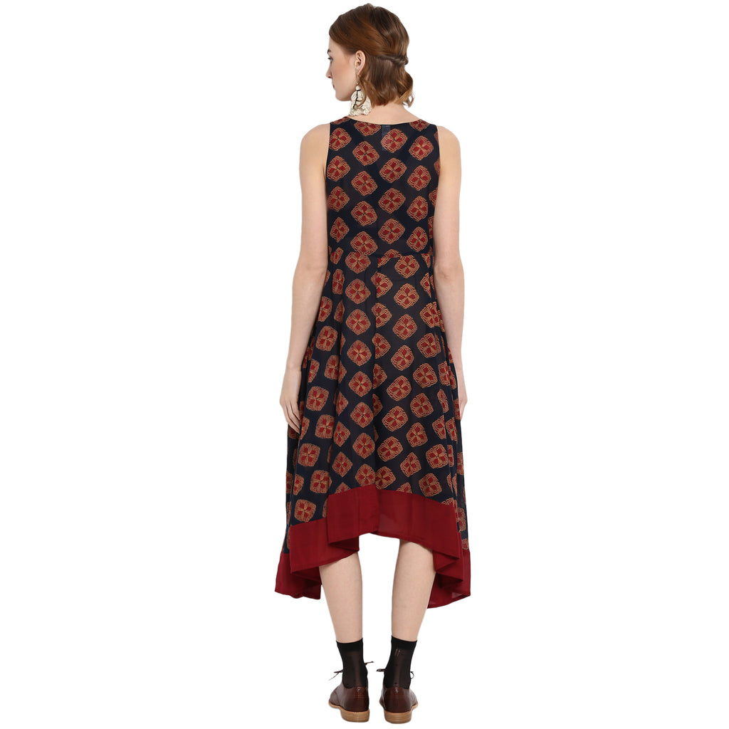 Printed Fit And Flare Dress With Assyetric Hemline And Embroidery
