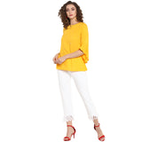 Yellow Solid Top With Bell Sleeves