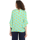 Green Polka Printed Top With Bell Sleeves