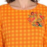 Orange Printed Top With Embroidery & Tieup Sleeve