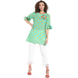 Green Printed Top With Embroidery & Tieup Sleeve