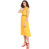 Solid Yellow Sleeveless Shirt Dress With Basic Collar