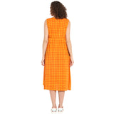 Orange Empire Dress With Pocket Embroidery