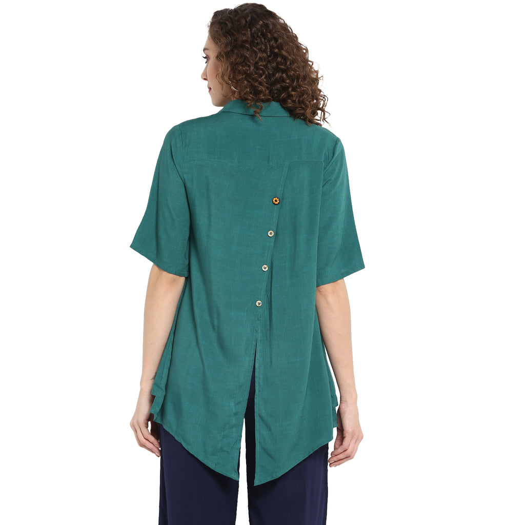 Solid Green Shirt With Embroidery