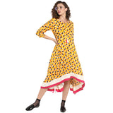 Yellow Printed Dress With Asymmetric Hem