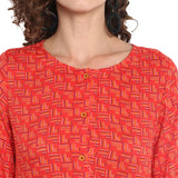 Red Printed Dress With Asymmetric Hem