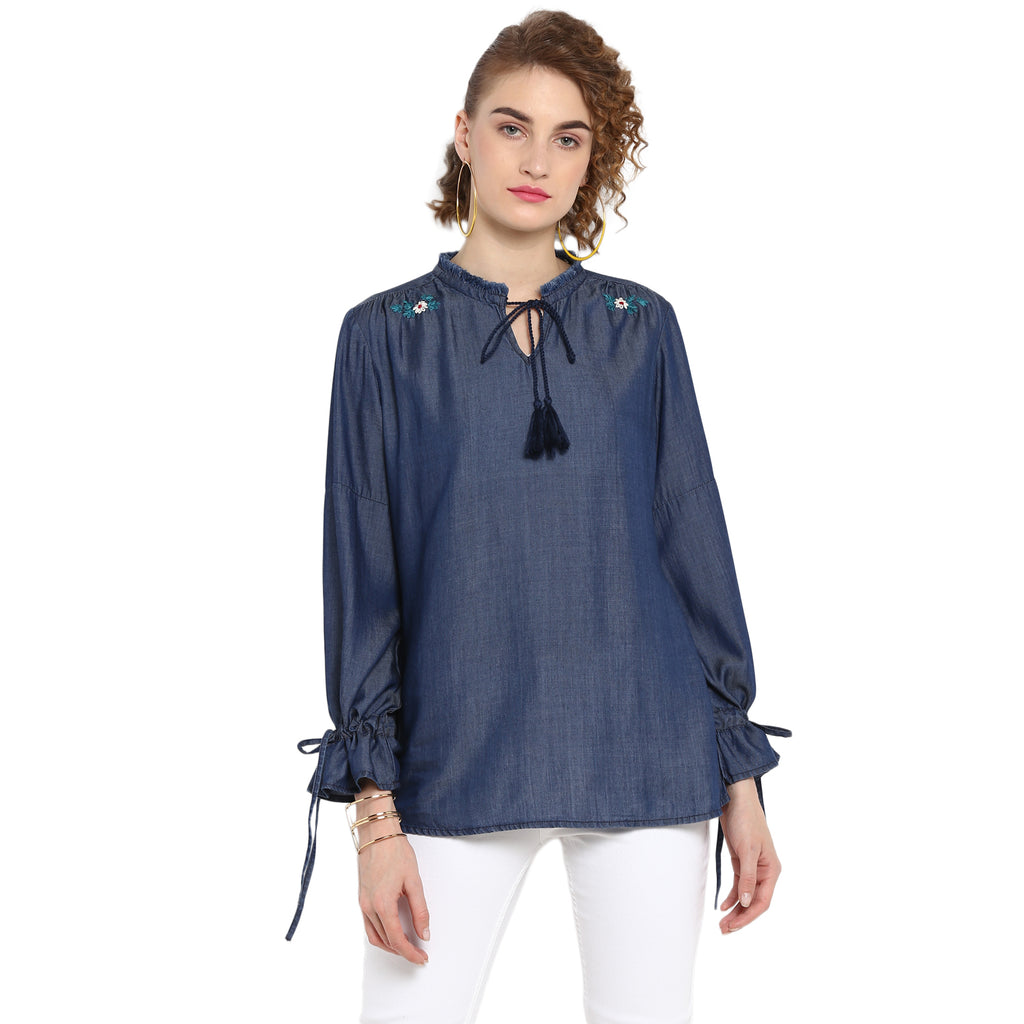Blue Indigo Washed Top With Embroidery