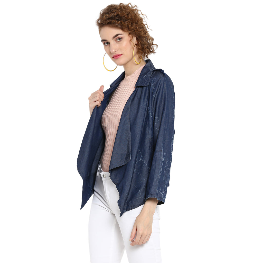 Solid Indigo Asymmetric Shrug With Crackle Wash