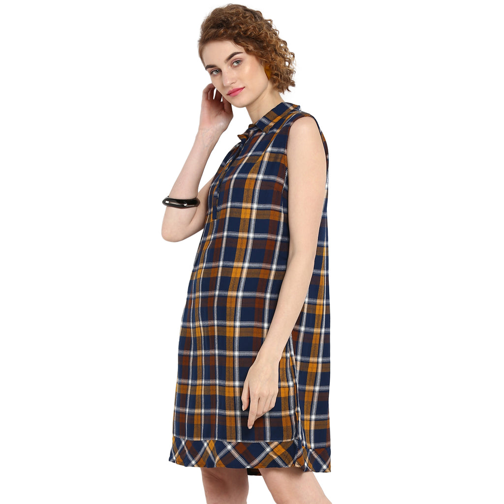 Yellow Yarn Dyed Checks Sleevless Shirt Dress