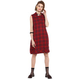 Red Yarn Dyed Checks Sleevless Shirt Dress