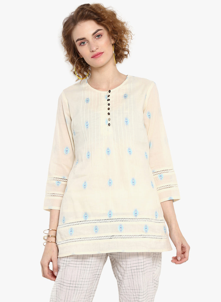 Offwite/Blue Dobby Tunic