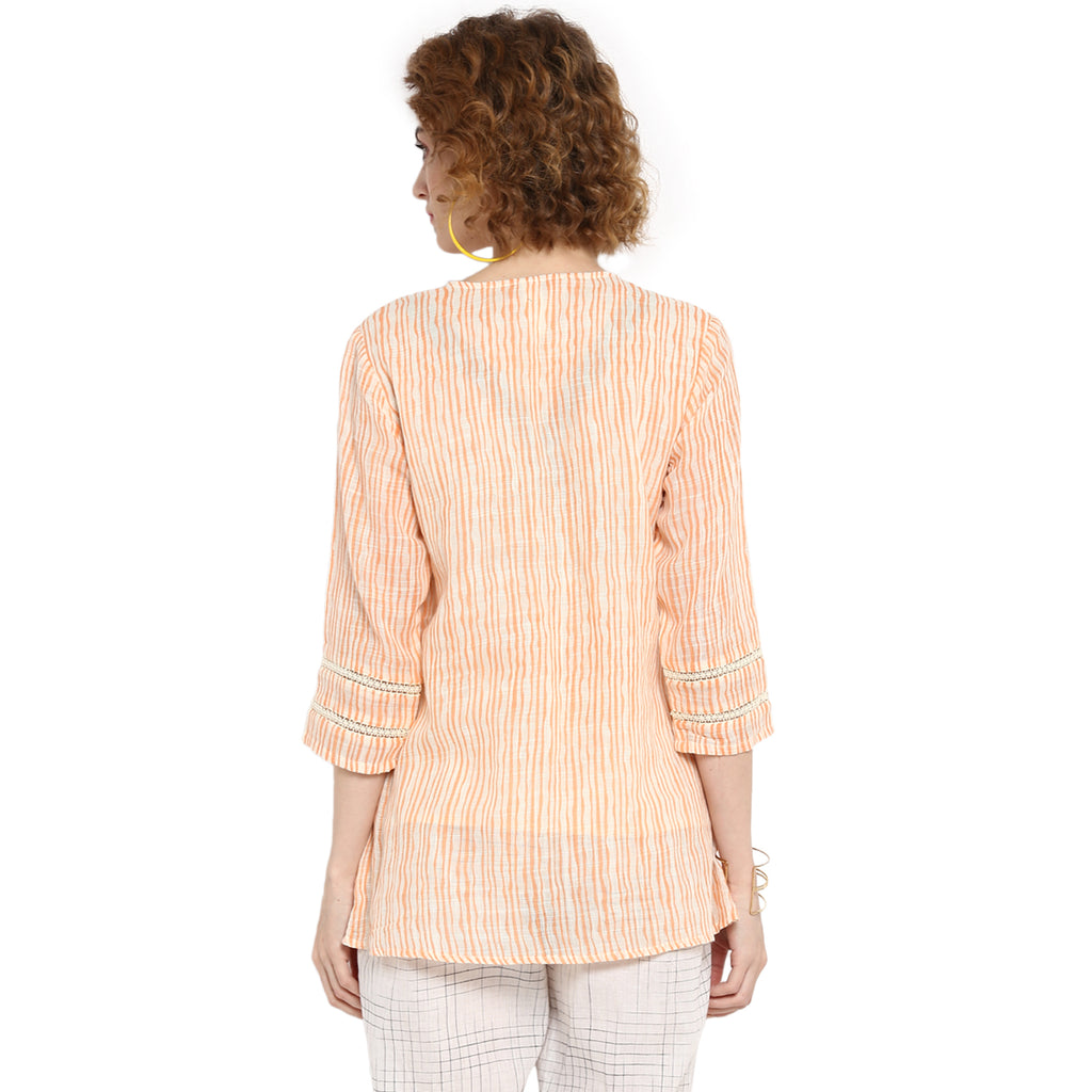 Offwite/Orange Dobby Tunic