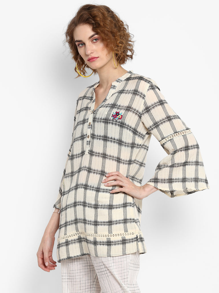 Handloom Checks Tunic With Floral Hand Embroidery