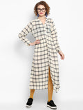 Handloom Checks Drop Waist Dress With Handwork