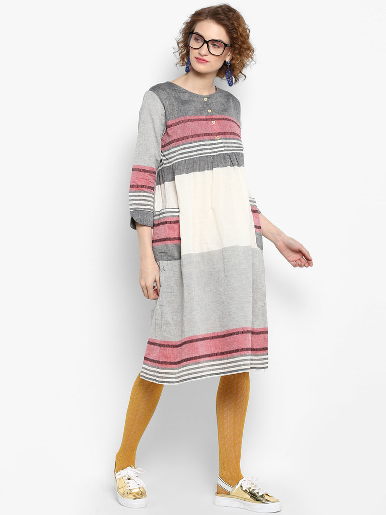 Handloom Dress With Patch Pockets