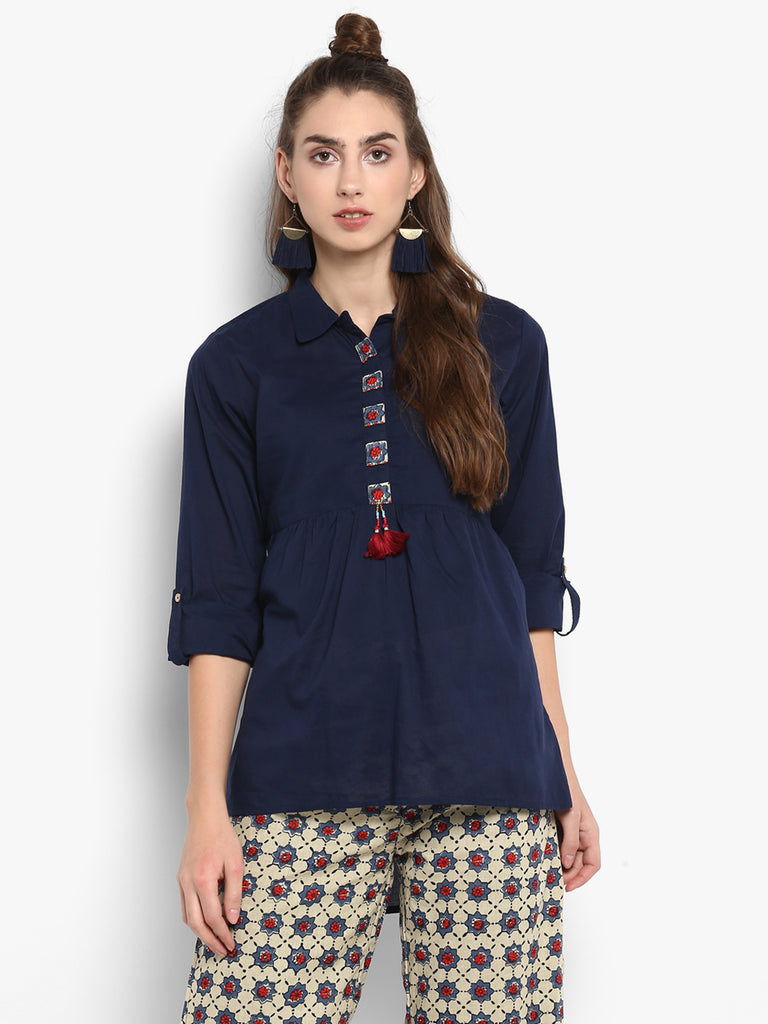 Solid blue tunic with patchwork