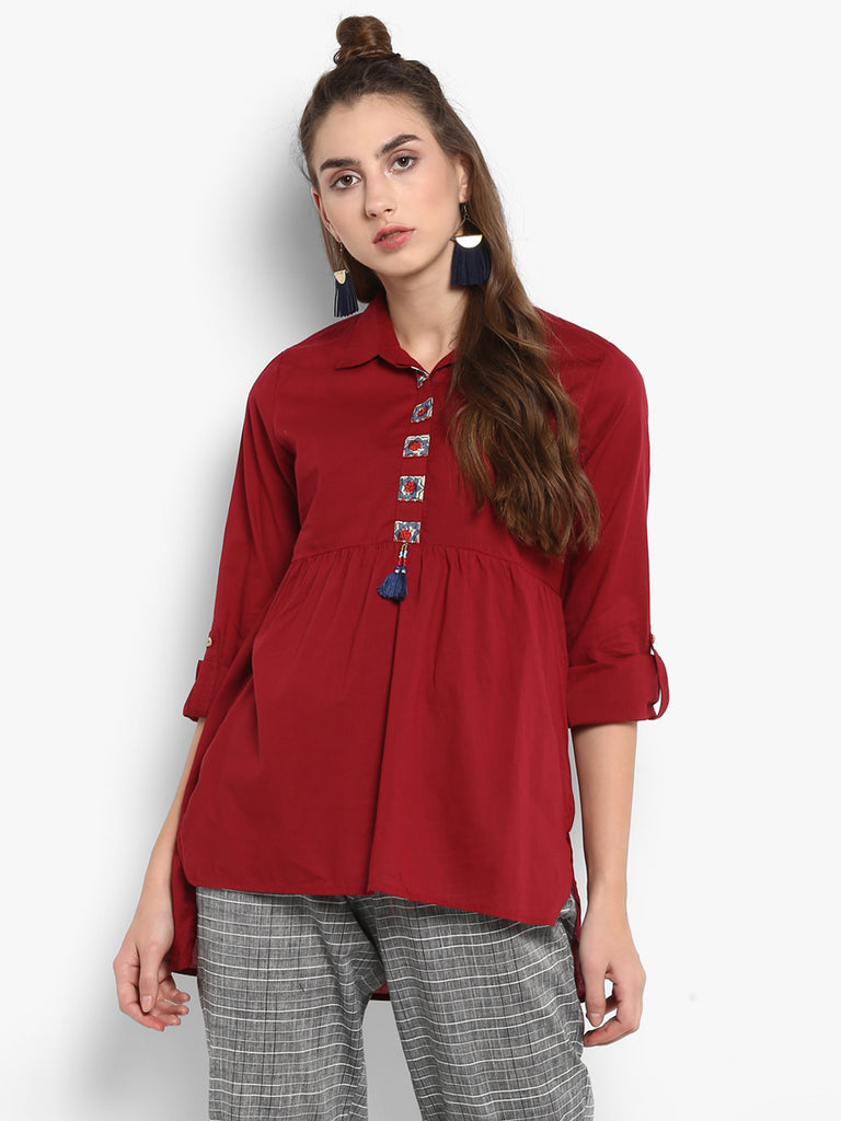 Solid Red  tunic with patchwork