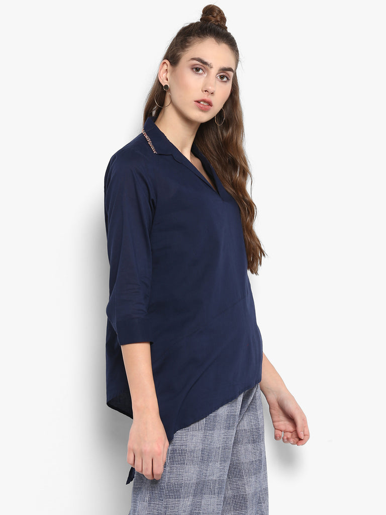 Solid blue assymetric V neck top