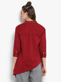 Solid red assymetric V neck top