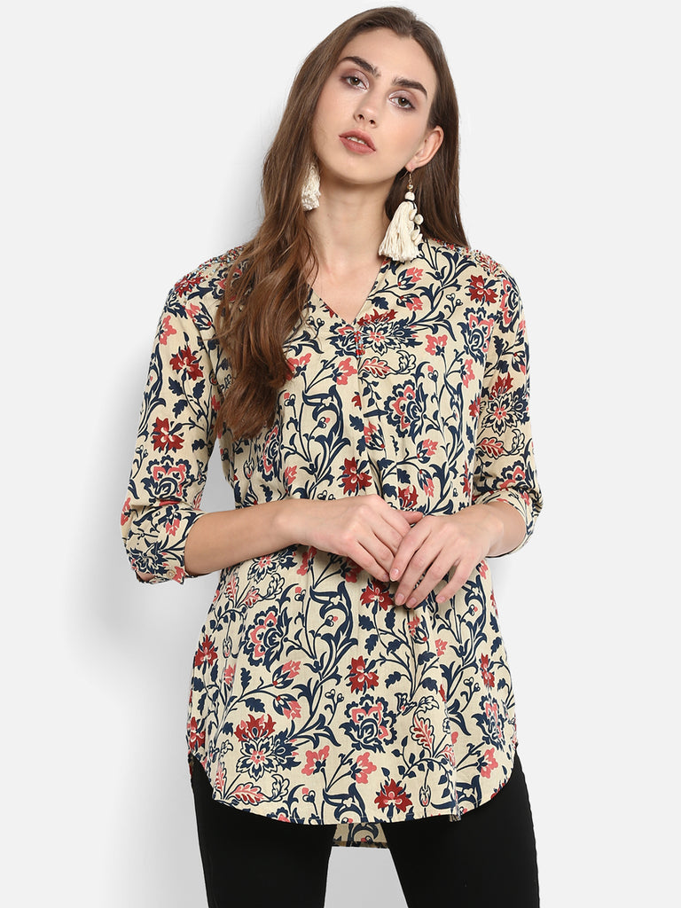 Beige Printed V neck Tunic