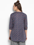 Blue Printed V neck Tunic