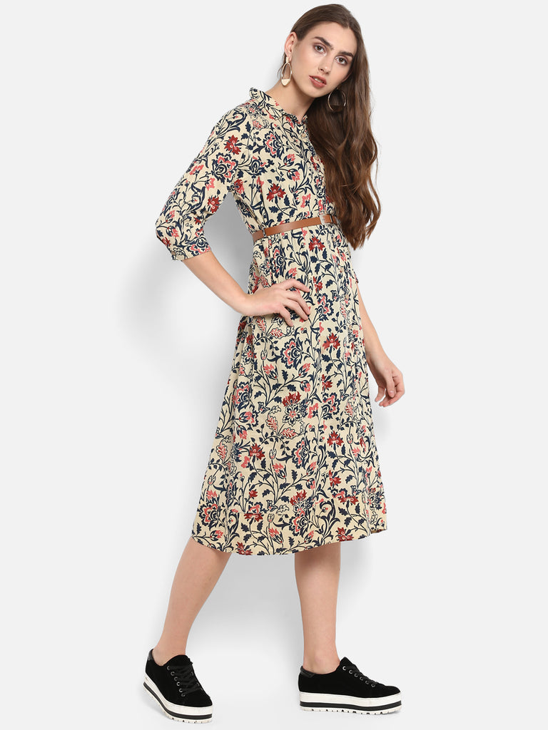 Beige Printed Shirt Dress with belt