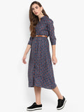 Blue Printed Shirt Dress with belt