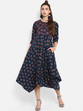 Indigo printed flared dress