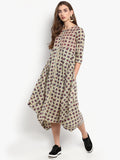 Beige Printed Flared Dress