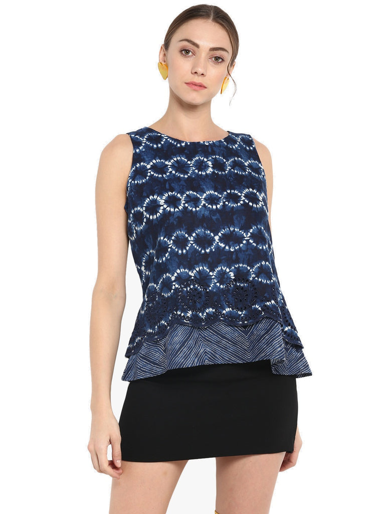 Blue Printed Sleevles Top With Hem Emroidery