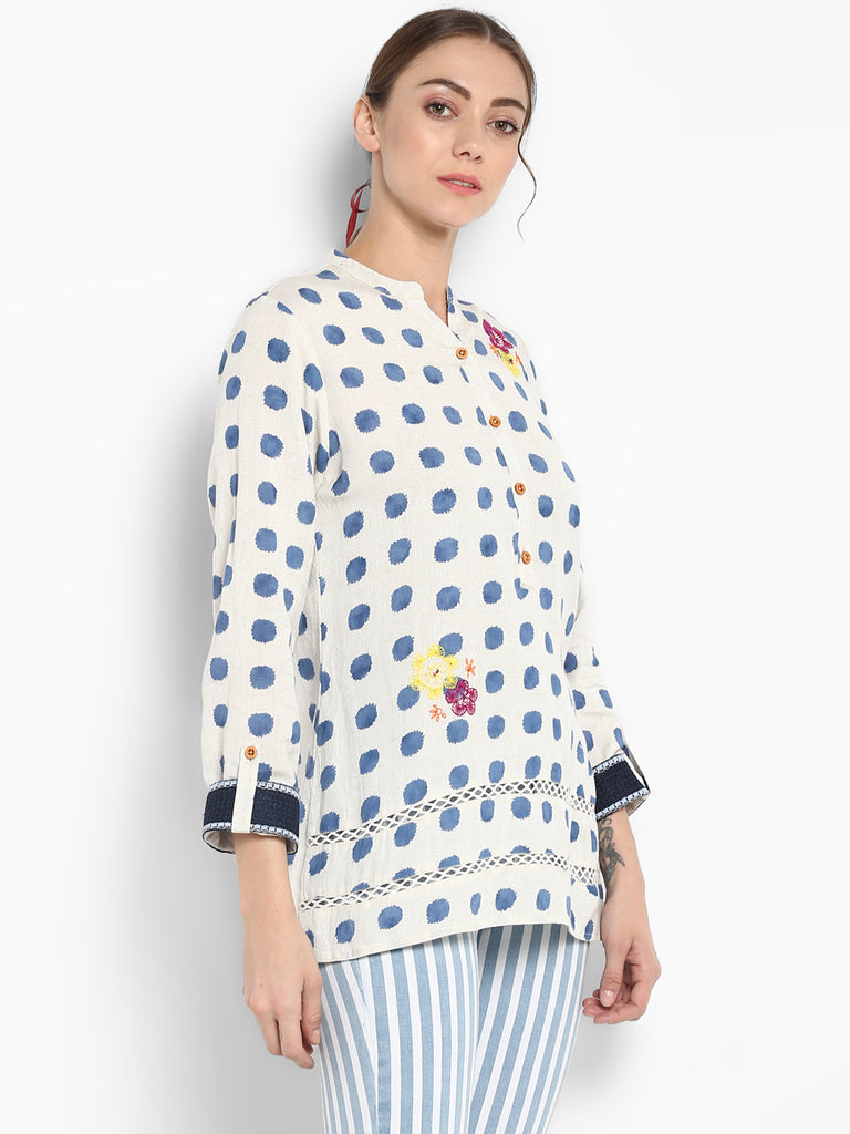 Blue Polka Print Tunic With Embroidery