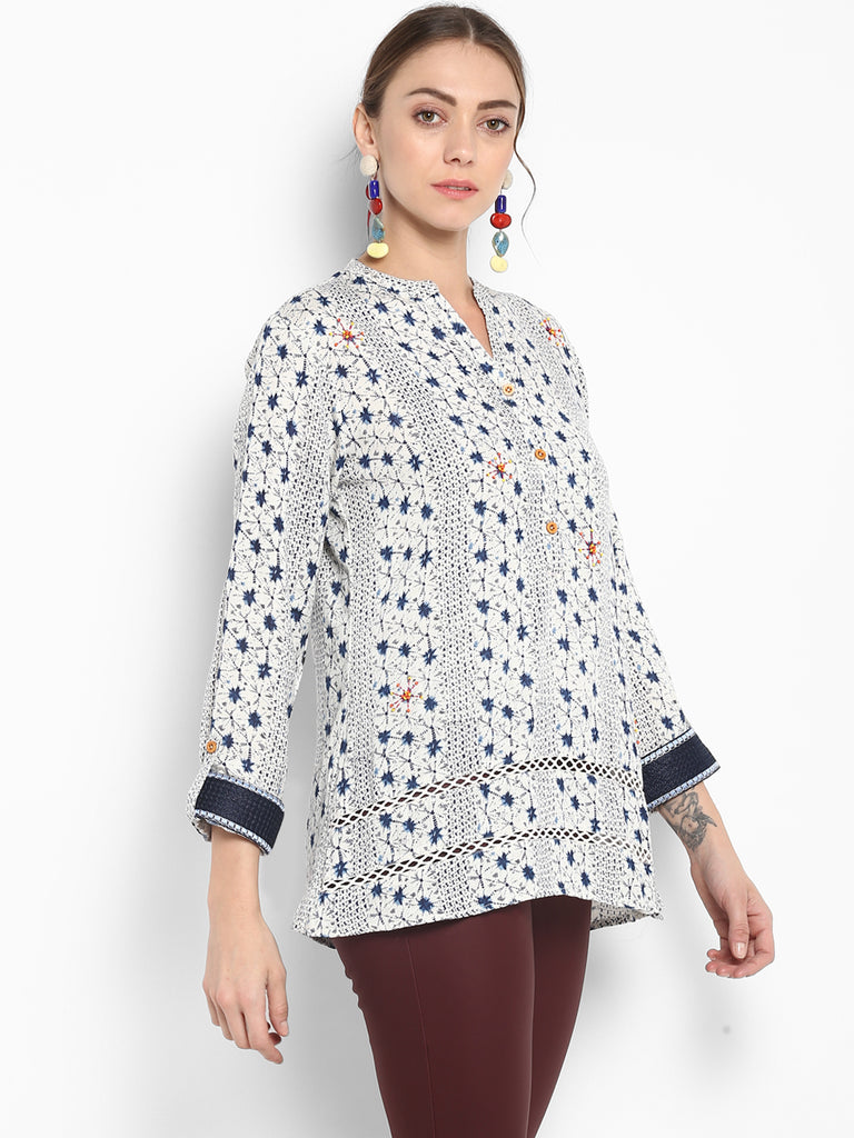 Blue Print Tunic With Overall Embroidery