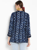 Blue Print Tunic With Embroidery
