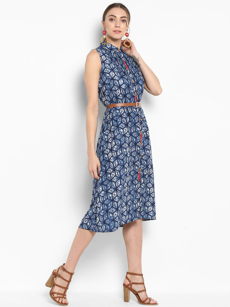 Blue Printed Shirt Dress With Placket Embroidery
