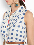 Blue Polka Dot Shirt Dress With Placket Embroidery