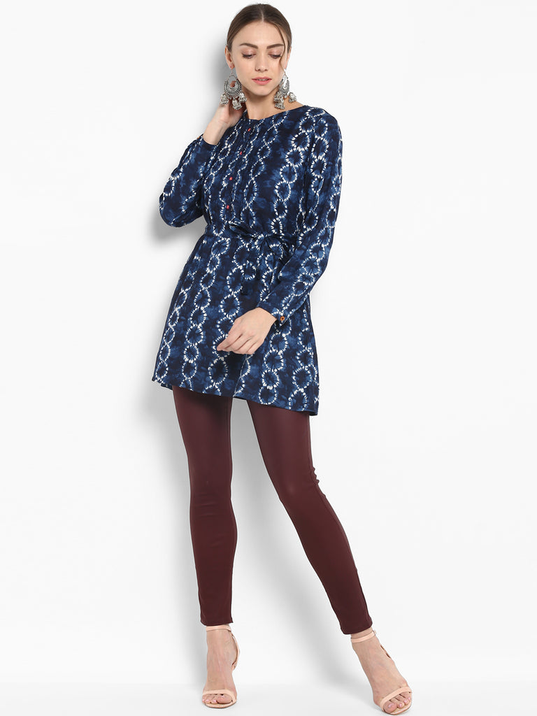 Blue Printed Tunic With Placket Handwork