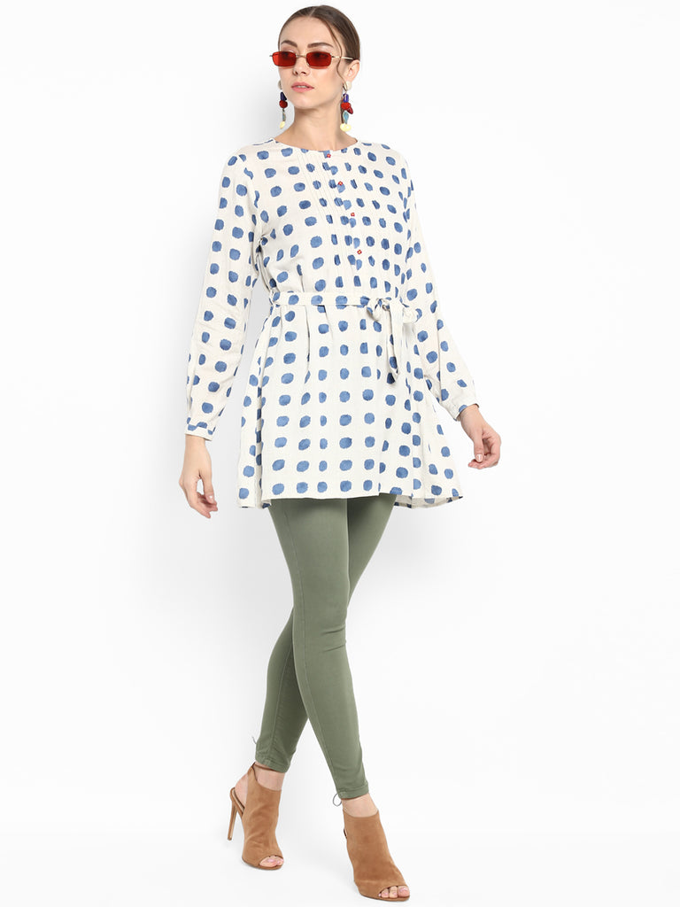 Blue Polka Dot Tunic With Placket Handwork