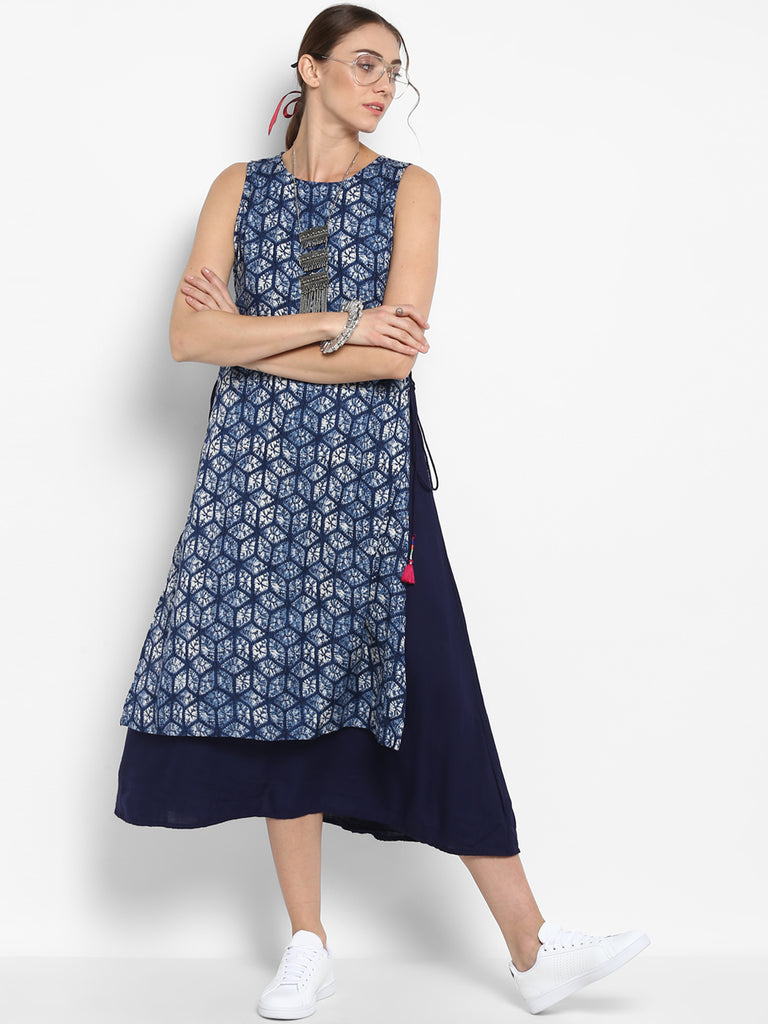 Blue Double Layered Printed Dress With Side Tie Ups