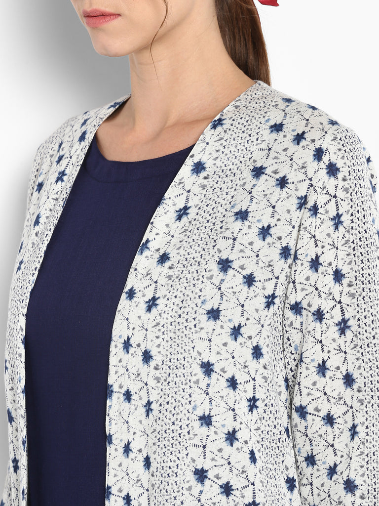 Blue Flared Sleeves With Printed Shrug And Attached Inner