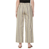 Beige & black stripe pant with embroidered belt
