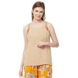 Beige Soild embroidered top