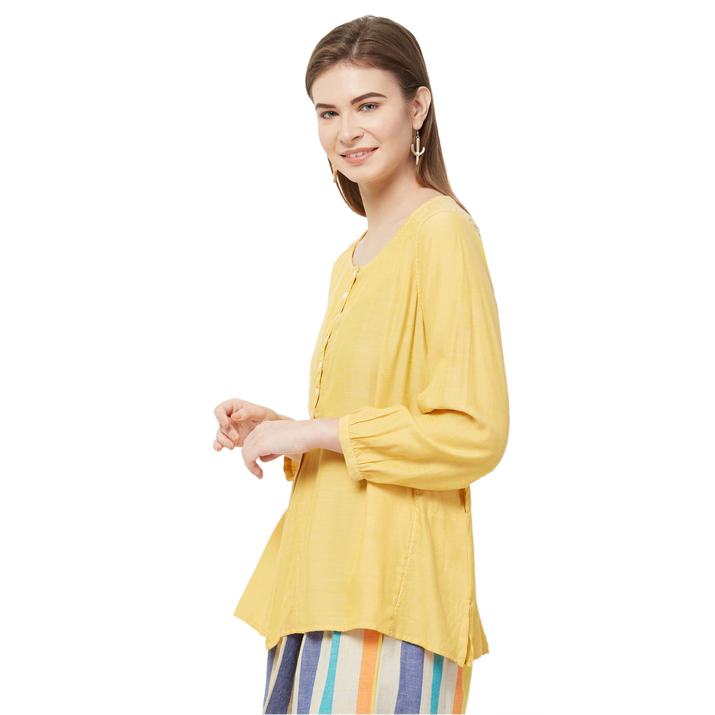 Yellow solid front Slit top with kantha