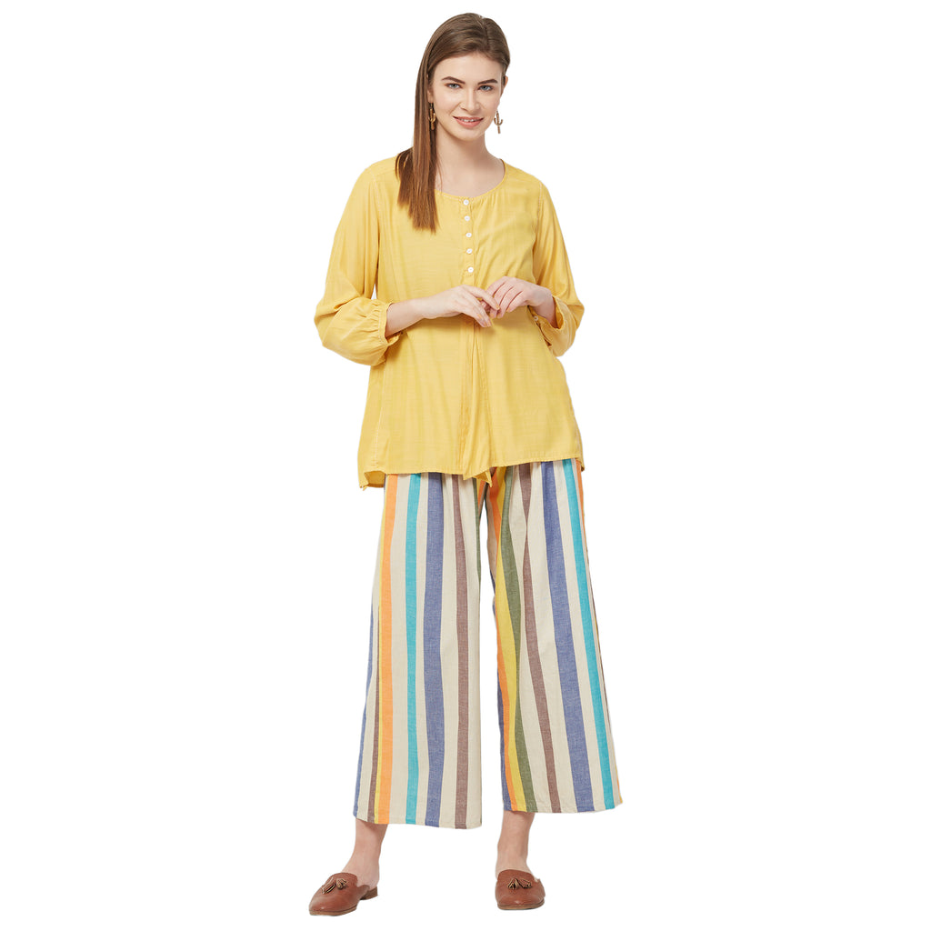 Multi color stripe pleated trouser