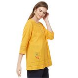 Mustard solid lace insert top with embroidery