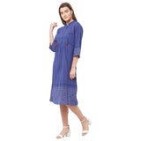 Blue border print dress with tussals and lace insert