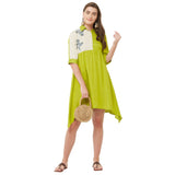 Lime dress with beige contrast with block print & embroidery