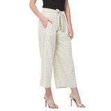 Off white checks pleated trouser