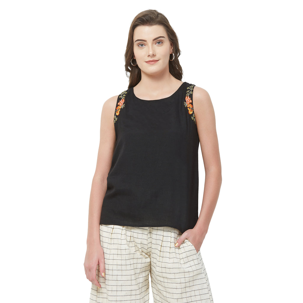 Black Soild embroidered top
