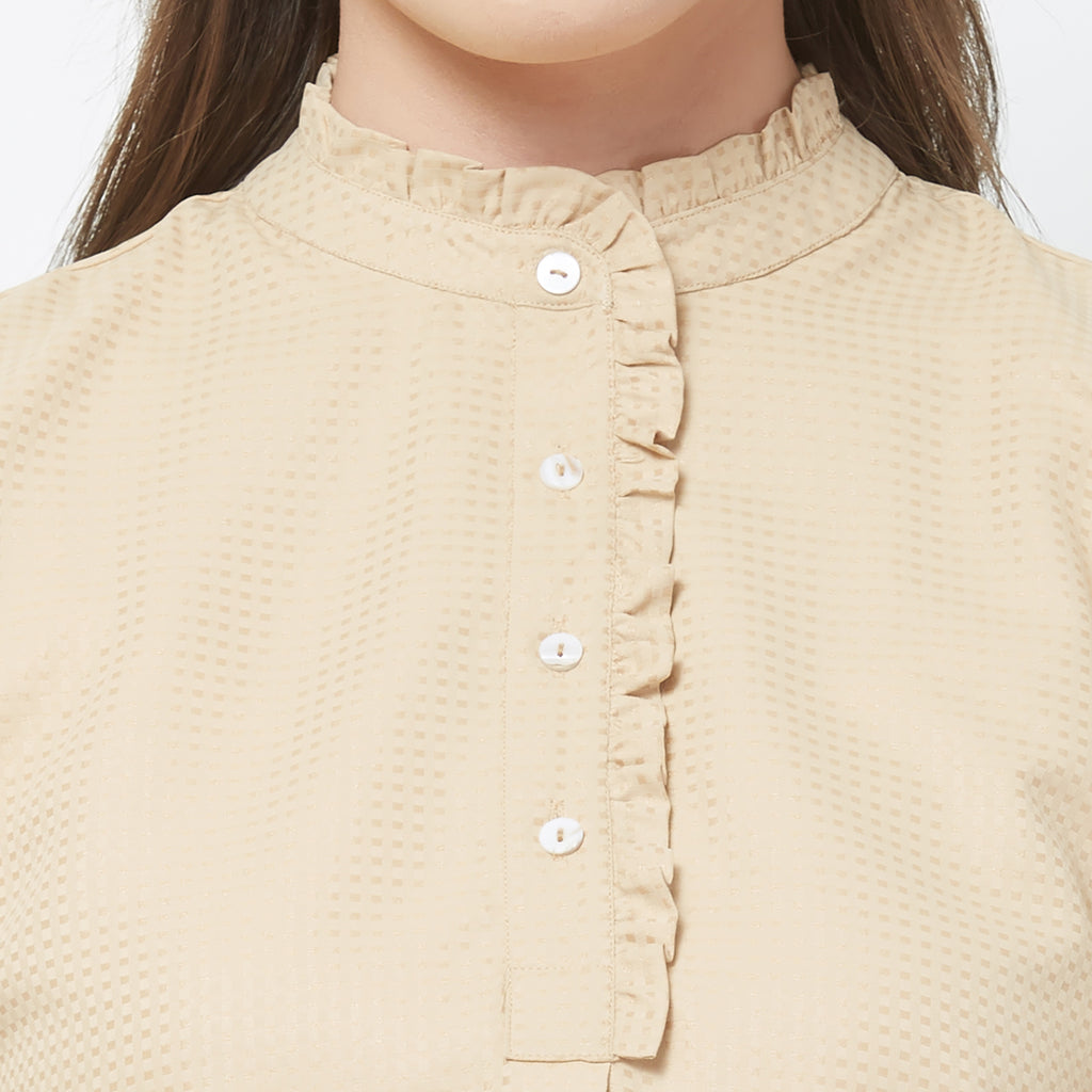 Beige solid top with ruffled neck placket