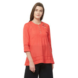 Red solid lace insert top with embroidery